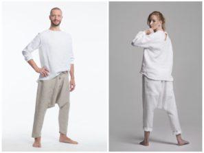 Kvalitní kalhoty na jógua volný čas, lněné, pánské i dámské