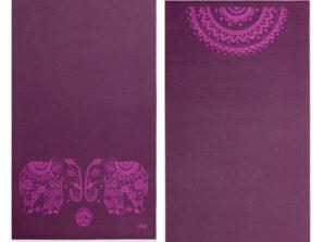 Designová podložka na jógu s obrázkem mandaly a slonů pro cvičení jógy doma i v jóga studiu.