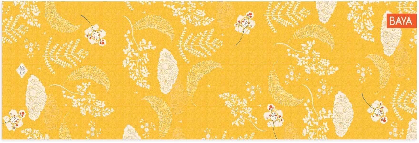 Krásná designová jóga podložka žlutá s vysokou kvalitou pro domácí jógu i jógu ve studiu.