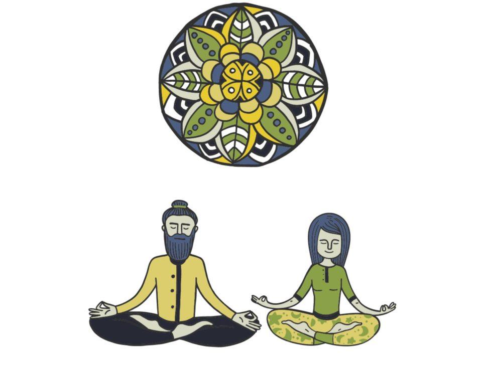 Krásný plakát jogín a jogínka nejen pro jógu.