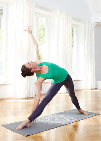 Kvalitní jóga podložka spotiskem Sri Yantra.