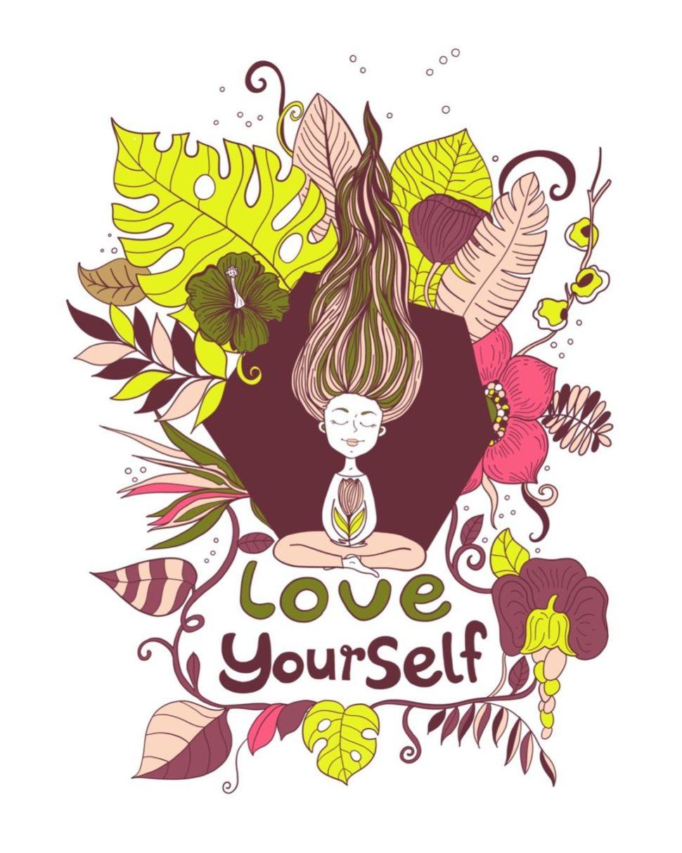 Krásný plakát pro sebelásku nejen pro jógu.