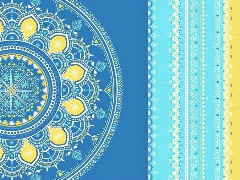 Krásná designová podložka na jógu s designem inspirovaným Indií pro cvičení jógy doma i v jógovém studiu.